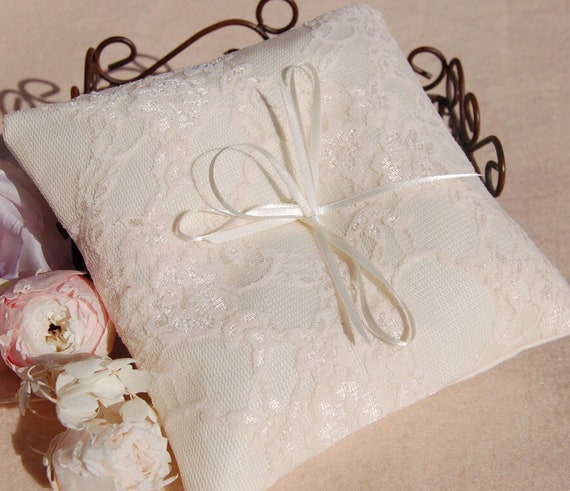 Beautiful Lace Wedding Ring Pillow Cotton Ring Pillowlace Etsy