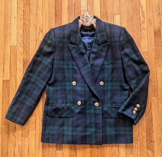 Vintage Blue Plaid Blazer
