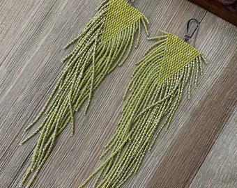 Lime and silver beaded fringe earrings - statement earrings