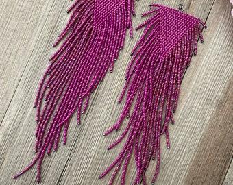 Statement Earrings - Fuchsia and silver Rainbow Marsala - beaded fringe earrings - Luminous fuchsias and matte rainbow Marsala red