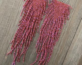 Luminous Fuchsia and terracotta  beaded fringe earrings - statement earrings