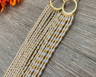 Statement Earrings - Cream and gold Striped - beaded fringe earrings - Luminous cream bone and gold stripes