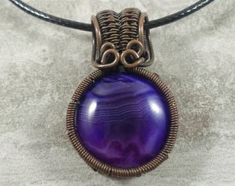 Gorgeous purple agate cabochon wire wrapped with oxidized copper pendant necklace