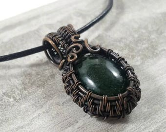 Gorgeous dark green aventurine cabochon wire wrapped with oxidized copper pendant necklace