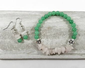 Matching pink and green stretch bracelet and earring set with rose quartz, green aventurine and silver plated beads