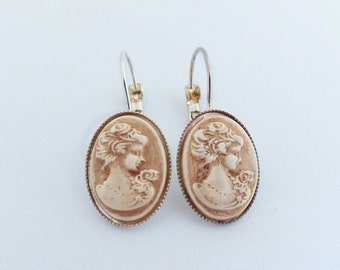 made in Italy handmade lobe earrings victorian jewelry woman cameo earrings ceramic jewelry