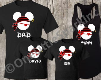719729bc70 Mickey and minnie Pirate cruise matching couple family disney personalized  shirt