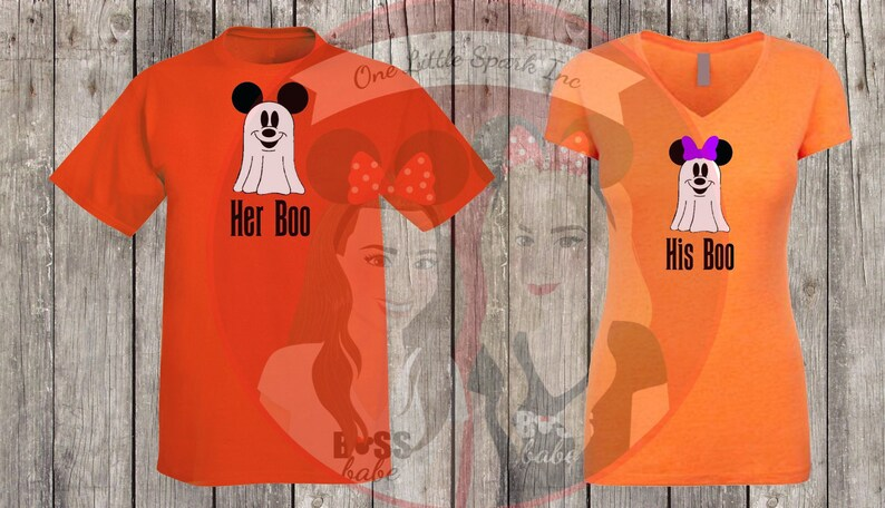 1549556682e9 Disney halloween shirt his boo her boo ghost mouse couple | Etsy