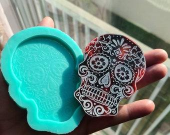 Sugar Skull Mold Silicone Mold for Resin 6mm Casting Mold Handmade Mold