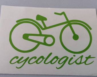 CYCOLOGIST Vinyl Car Window Decal .. Free Shipping ..  Bicycle Cyclist Laptop Sticker Wine Glass Beer Mug Frame Sports Bottle Organizer