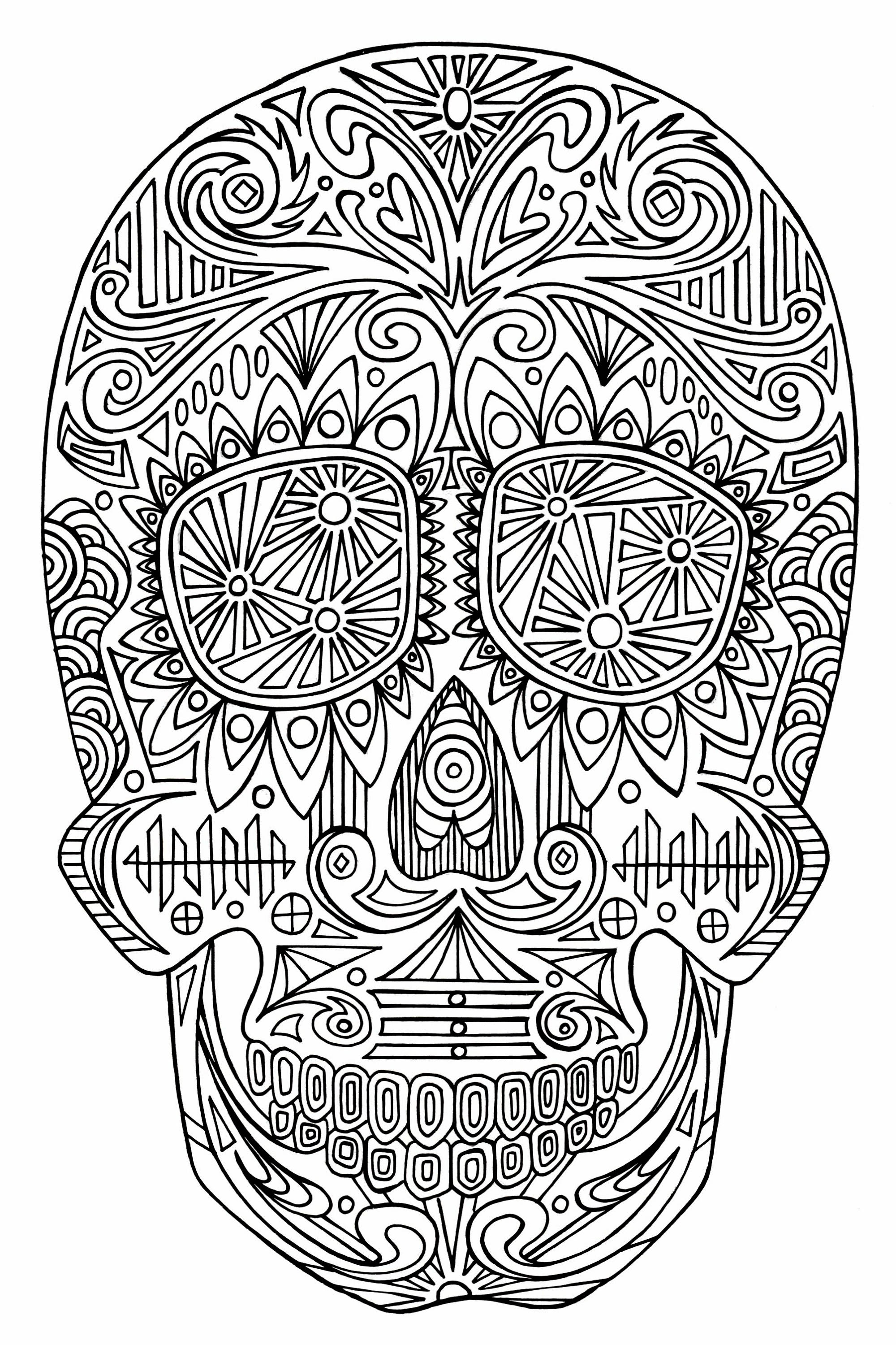 Intricate Sugar Skull Coloring Page