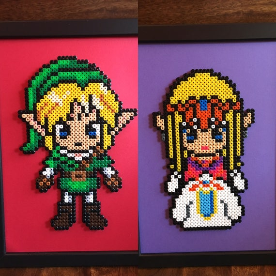 Link Ou Zelda Legend Of Zelda Pixel Art A4 Encadrée Perle Photo Disponible à Lunité Ou En Lot De 2