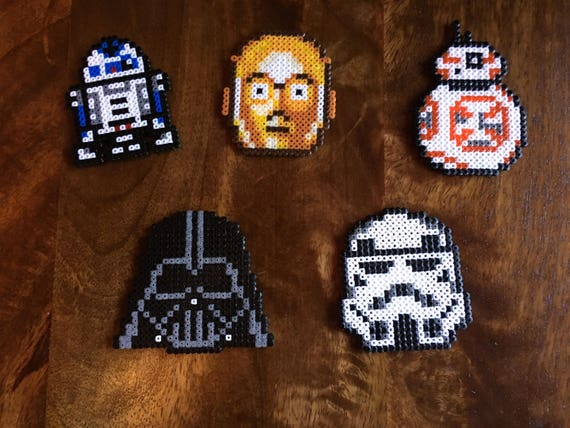 Darth Vader Stormtrooper Bb8 R2d2 Andor C3po Star Wars Pixel Art Mini Bead Magnet Available Individually Or As Set Of 5