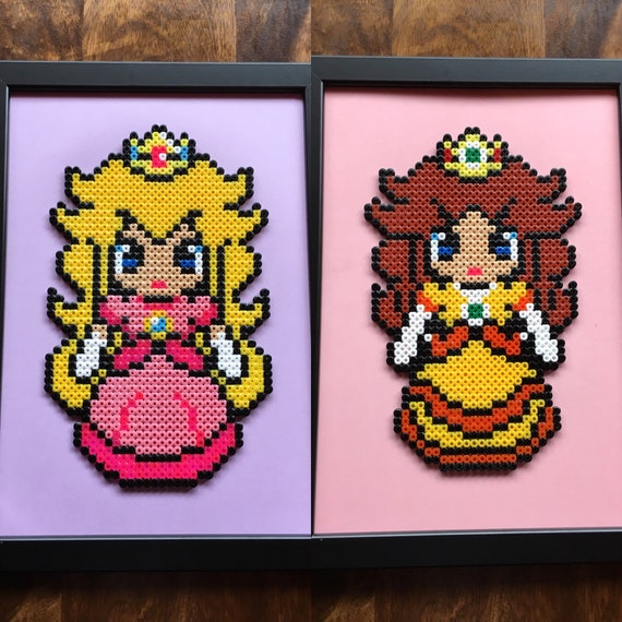 Princess Peach Andor Princess Daisy Super Mario Pixel Art A4 Bead Picture Available Individually Or As A Set Of 2