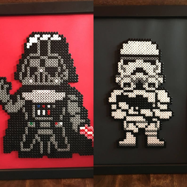 Darth Vader and/or Stormtrooper - Star Wars - Pixel Art A4 Framed Bead  Picture - Available Individually or as a set of 2