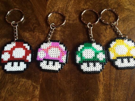 Mini Power Up Mushroom Mario Pixel Art Bead Keyring Available Individually Or As A Set Of 6
