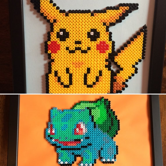 Pikachu And Or Bulbasaur Pokemon Pixel Art A4 Framed Bead Picture Available As Individuals Or As A Set Of 2