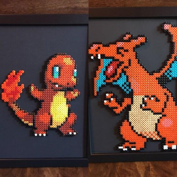 Salamèche Ou Dracaufeu Pokemon Pixel Art A4 Encadré Perle Photo Disponible à L Unité Ou En Lot De 2