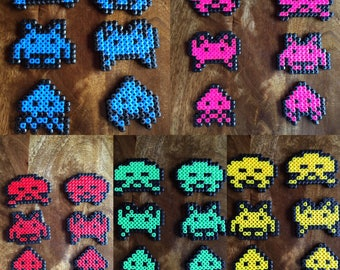 Space Invaders - Set of 6 - Pixel Art Bead Magnets