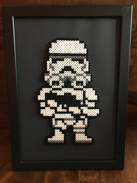 Darth Vader Andor Stormtrooper Star Wars Pixel Art A4 Framed Bead Picture Available Individually Or As A Set Of 2