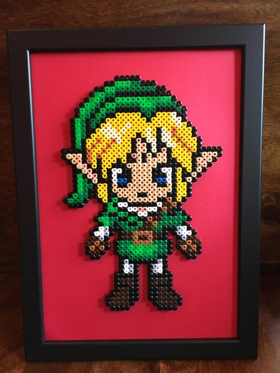Link And Or Zelda Legend Of Zelda Pixel Art A4 Framed Bead Picture Available Individually Or As A Set Of 2