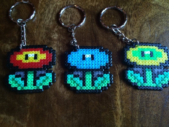 Mini Fire Flower Super Mario Pixel Art Bead Keyring