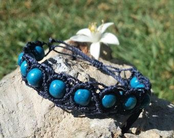 Turquoise wooden beads blue macrame bracelet.
