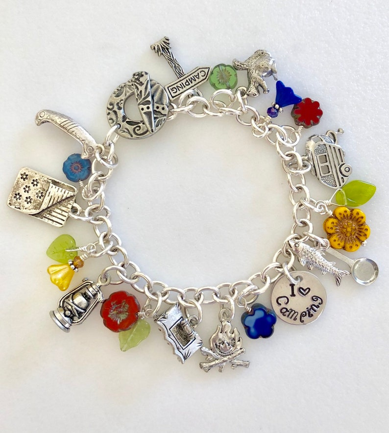 RV I Love Camping Pewter Camping Charm Bracelet Nature Wildflower Bracelet Summer Camp Canoe Outdoor Lover Tent Fishing