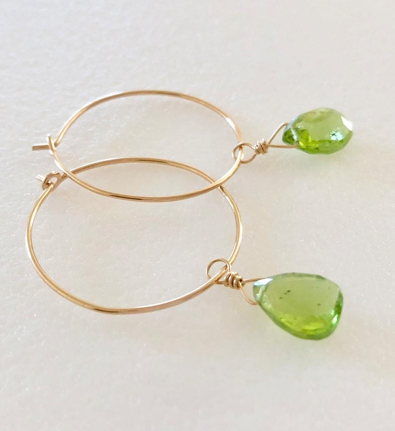 0b9c9f596 Peridot Hoop Earrings August Birthstone Apple Green Peridot | Etsy