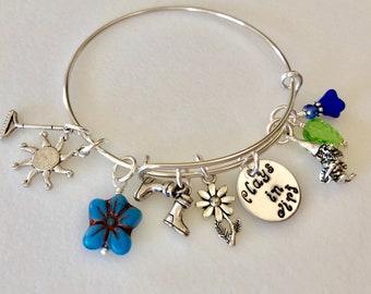 """Garden Charm Bracelet, Garden Lover's Bangle Bracelet, Hand Stamped """"Plays In Dirt"""" Gardener's Bangle, Gardening Bangle Bracelet"""