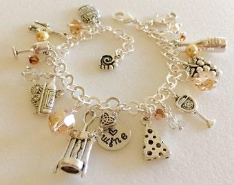 "Wine Charm Bracelet, Wine Lovers Bracelet, Swarovski Crystal Wine Bracelet, Champagne White Wine Charm Bracelet, Hand Stamped ""love wine"""
