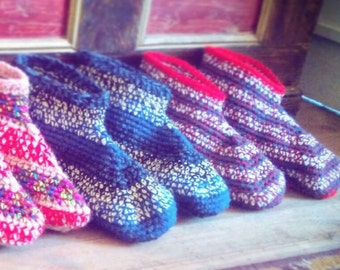 MADE TO ORDER Wide Fitting Adult Booties in your size and color Soft sole house slippers Crocheted slipper sox Unique handmade personal gift