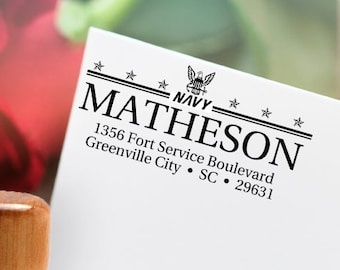 Military Return Address Stamp! Air Force, Army, Coast Guard, Navy or Marines - You Choose Branch - SKU 1499 FREE SHIPPING!