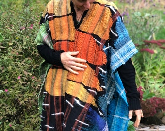 Monarch Poncho- Hand Woven Shawl