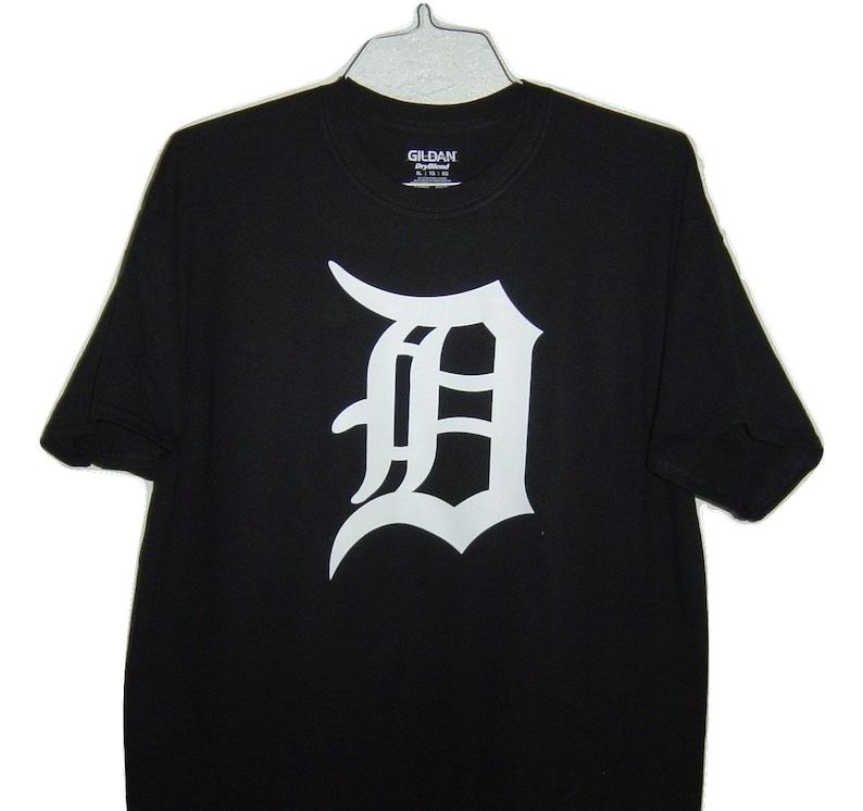 Old english D White logo on black TShirt Very popular For baseball fan