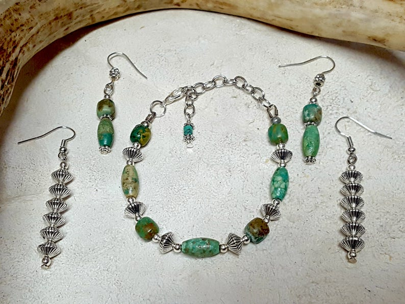 Woman Warrior Rustic Primitive Jewelry Viking Jewelry Lagertha/'s Turquoise Earrings Tribal Earrings Shieldmaiden Vikings Show