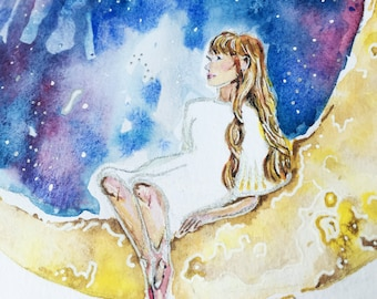 The girl on the moon - Giclee PRINT