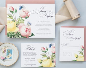 The Jane Wedding Suite - Floral Wedding Invitation, Botanical Wedding Invitation, Spring Wedding Invitation, Summer Wedding Invitation