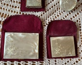 Very Rare Vintage Flame Crest Diamond (not real) Embellished Mother of Pearl 4 Pc Cigarette Case, Powder Compact, Lighter and Lipstick Set