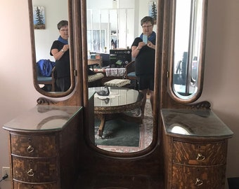 Antique Oak Waterfall Vanity with Triple Beveled Mirrors Dovetailed Drawers Original Hardware