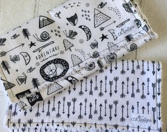 Baby Burp Cloth Set of Two | Black and White Woodland | Black Arrows | Gender Neutral Burp Cloth Set | Baby Shower Gift | Tribal Baby