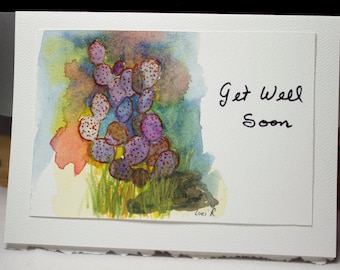 Hand painted greeting card thank you card blank card etsy hand painted greeting card get well soon blank card original watercolor card colorful cactus nature free shipping m4hsunfo