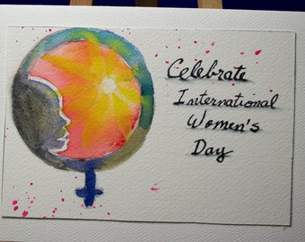 Hand Painted Greeting Card, Thank You, Blank Card, Original Watercolor Card, International Women's Day, Free Shipping