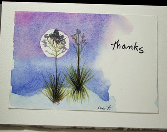 Hand Painted Greeting Card, Thank You, Blank Card, Original Watercolor Card, White Sands, Landscape, Free Shipping
