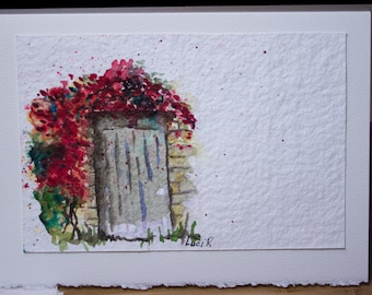 Hand Painted Watercolor Greeting Card, Original, Blank Card, Floral, Bougainvillea  Vine, Free Shipping