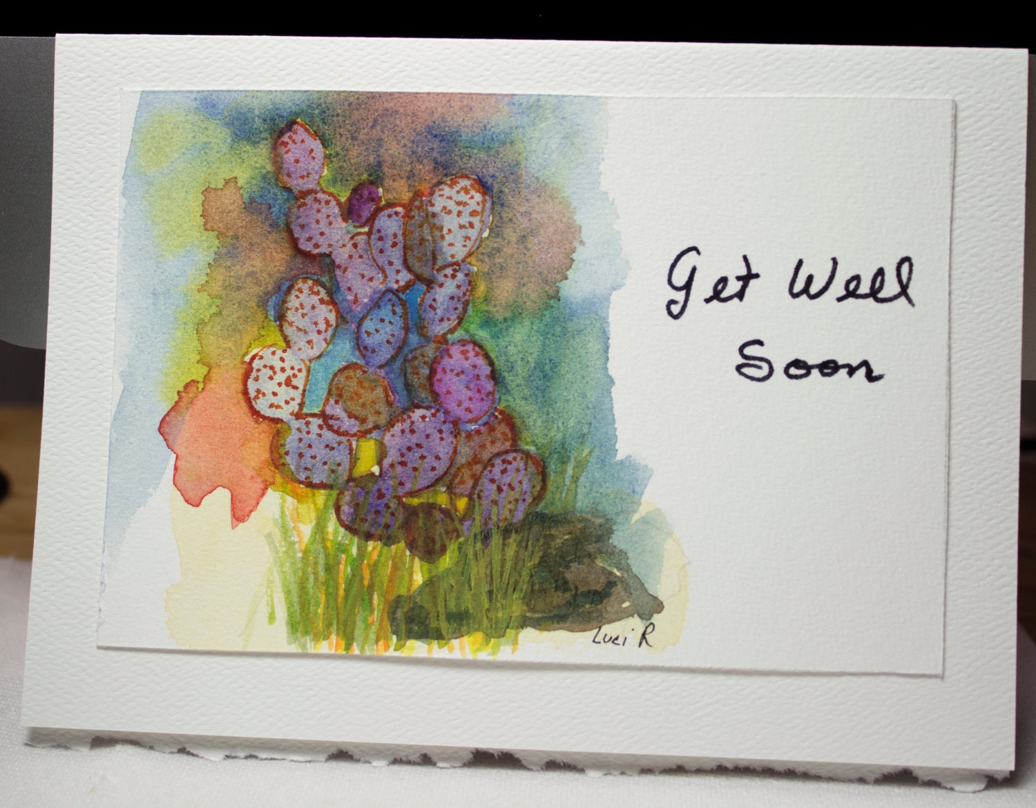 Hand Painted Greeting Card Get Well Soon Blank Card Etsy