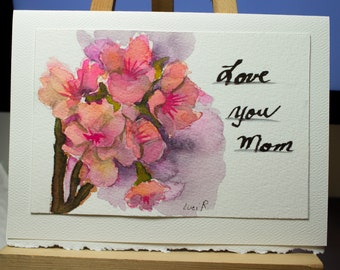 Hand Painted Greeting Card, Mother's Day card, Blank Card, Original Watercolor Card,  Cherry Blossoms, Nature, Free Shipping