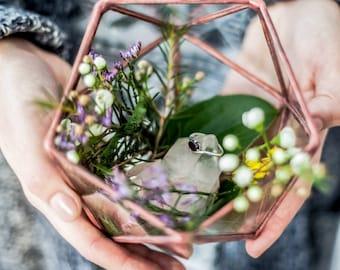 Mini Icosahedron Geometric Terrarium / Handmade Glass Succulent Planter / Rings Holder / Wedding Ring Box / Ring Bearer / Rings Glass Box