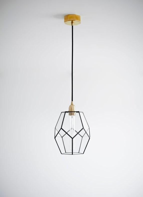 Elongated Dodecahedron Glass Geometric Chandelier Modern Pendant Light Design Lamp Minimalism Style Symmetry Industrial Loft