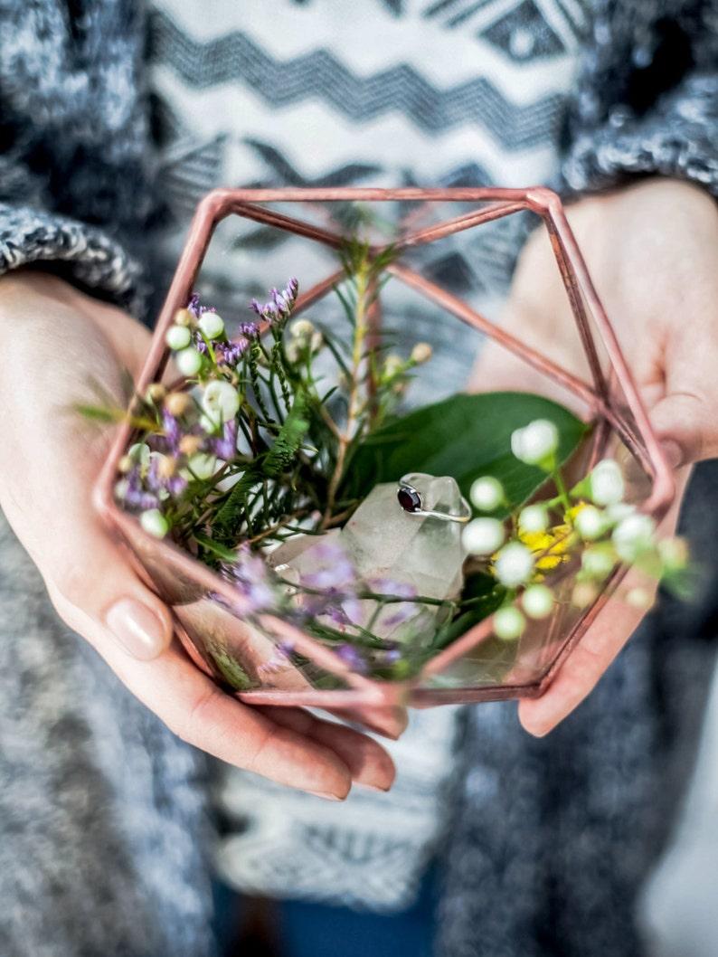Mini Icosahedron Geometric Terrarium / Handmade Glass image 1